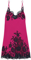 I.D. Sarrieri Nights In Venice Lace-trimmed Silk-blend Chemise - Fuchsia