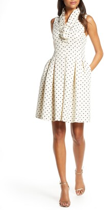 Harper Rose Metallic Polka Dot Fit & Flare Dress