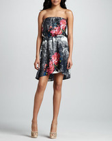 Neiman Marcus Cusp by Strapless Floral-Print Dress