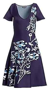 Zac Posen Women's Floral Jacquard V-Neck Knit Dress