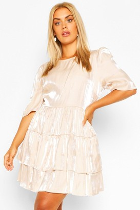 boohoo Plus Satin Ruched Ruffle Skater Dress