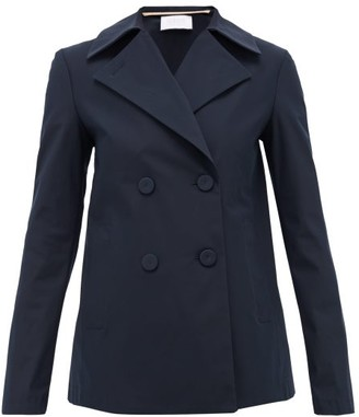 Harris Wharf London Double-breasted Technical-twill Pea Coat - Navy