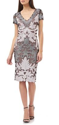 JS Collections Metallic Soutache Cocktail Dress