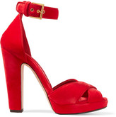 Alexander McQueen Velvet Platform Sandals - Crimson