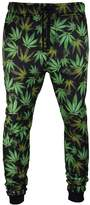 Trending Apparel Men Weed Joggers Blak Green Pants Fleee Elasti Waist Streth Jogger Trousers (2XL, )
