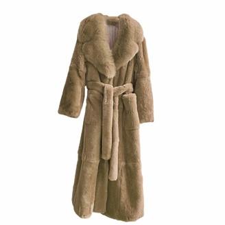 NKJGFV Plus Size Coat Winter Women Thick Warm X-Long Faux Fur Jacket Female Fluffy Fur Coat Plus Size Loose Parkas Khaki M