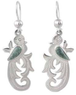 Novica Light Green Jade Dangle Earrings, 'Forest Quetzal'