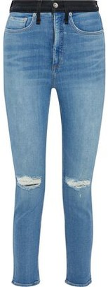 Rag & Bone Jane Distressed Two-tone High-rise Skinny Jeans