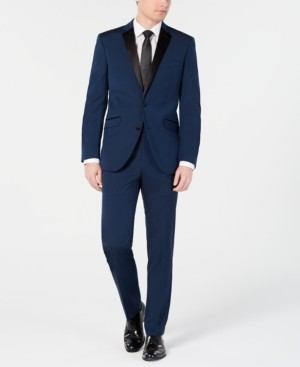 Kenneth Cole Reaction Men's Ready Flex Slim-Fit Stretch Notch Lapel Deep Blue Tuxedo