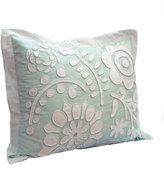 Dena Home Standard Cloud Aqua Sham w/ Floral Applique