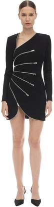 Alexander Wang Zipped Stretch Jersey Fitted Mini Dress