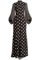 Andrew Gn High-neck polka-dot print balloon-sleeve silk gown