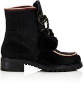 Barneys New York WOMEN'S POM-POM ANKLE BOOTS-BLACK SIZE 6