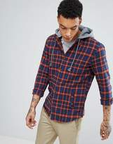 Pull&Bear Checked Shirt With Hood In Navy And Red
