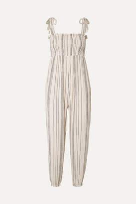 Hatch The Jojo Smocked Crinkled Cotton-gauze Jumpsuit - Off-white