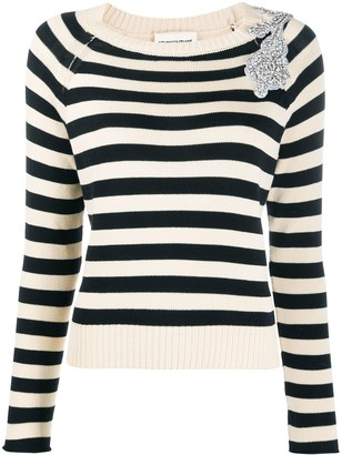 Semi-Couture Embellished Striped Pullover