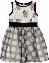MonnaLisa White Bear Print Neoprene and Spot Tulle Skirt Dress