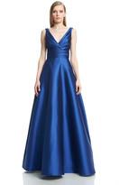 Theia 882654 Draped V-Neck Satin Evening Dress