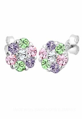 Elli Women's 925 Sterling Silver Xilion Cut Crystal Stud Earrings