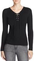 Aqua Rib Knit Lace Up Sweater