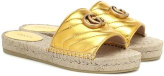 Gucci Pilar leather espadrille slides