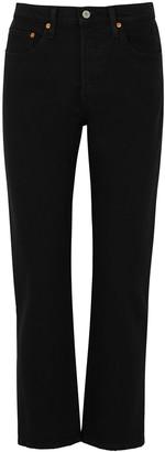 Levi's 501 Crop Black Straight-leg Jeans