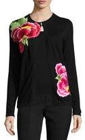 Naeem Khan Floral-Appliqué Crewneck Cardigan, Black/Pink