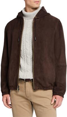 Neiman Marcus Men's Suede Hooded Bomber Jacket
