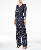 NY Collection Petite Belted Printed Wide-Leg Jumpsuit