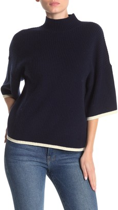 Frame Tipped Mock Neck Rib Knit Cashmere & Wool Sweater