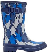 Joules Little Joule Children's Bear Camo Wellington Boots, Blue