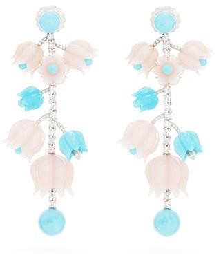 Irene Neuwirth Diamond, Opal, Turquoise & 18kt Gold Earrings - Womens - White Gold