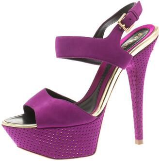 Baldinini Purple Suede Open Toe Ankle Strap Platform Sandals Size 36