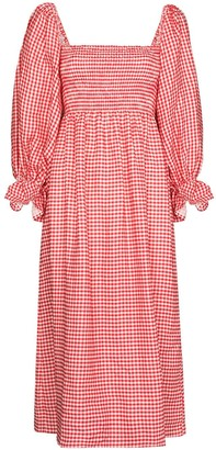 Sleeper Gingham Check Print Midi Dress