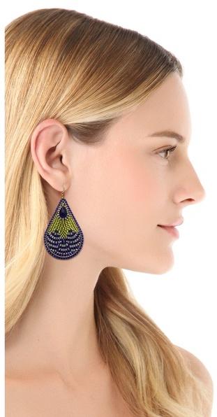 Miguel Ases Beaded Teardrop Earrings