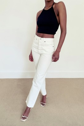 Topshop Womens Considered Ecru Editor Straight Jeans - Off White