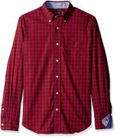 Nautica Men's Long Sleeve Wrinkle Resistant Small Red Plaid Shirt
