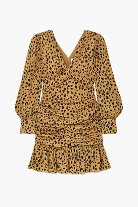 Nicholas Ruched Leopard-print Silk-crepe Mini Dress
