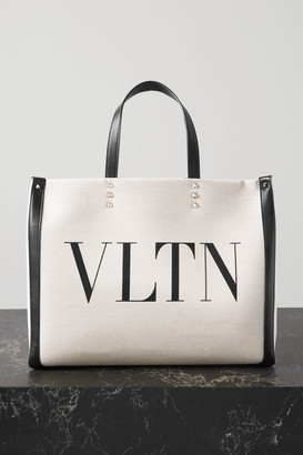 Valentino Medium Leather-trimmed Printed Canvas Tote - Neutral