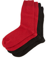 Neiman Marcus Cashmere-Blend Two-Pack Socks, Red/Black