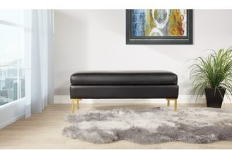 Delahunt Faux Leather Bench Mercer41 Upholstery: Black