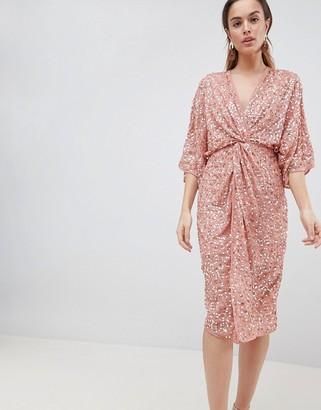 ASOS DESIGN scatter sequin knot front kimono midi dress