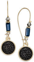 INC International Concepts Gold-Tone Jet Glitter Drop Earrings, Only at Macy's