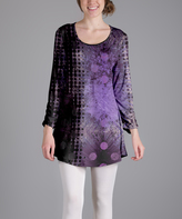 Lily Purple & Black Abstract Scoop Neck Tunic - Plus Too