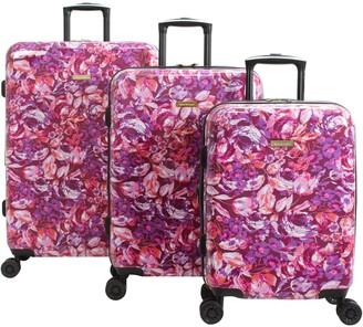 Isaac Mizrahi Live! 3-Piece Pink Hardside Spinner Luggage Set - Inez