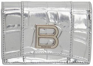 Balenciaga Silver Croc Mini Hourglass Wallet