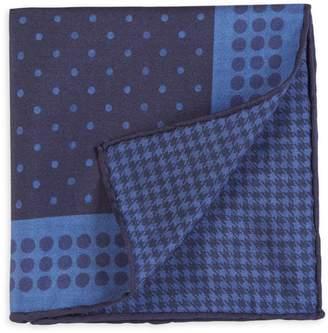 Canali Printed Wool Pocket Square