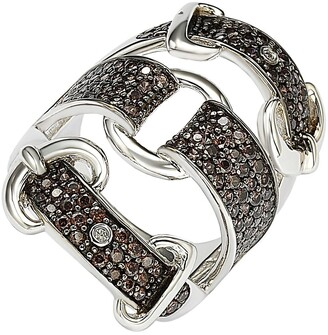 Suzy Levian Sterling Silver Brown CZ Triple Buckle Ring