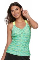 ZeroXposur Women's Striped Racerback Tankini Top
