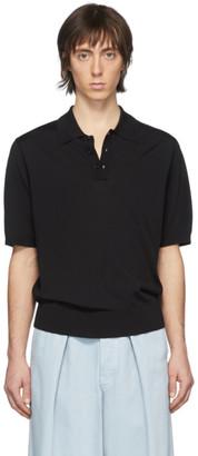 Dries Van Noten Black Knit Polo Shirt